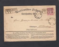 DANZIG CORRESPONDENZ-KARTE , EISENBAHNFAHRT.KARTE NACH OLDENBURG. - North German Conf.