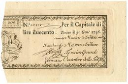 200 LIRE REGIE FINANZE TORINO REGNO DI SARDEGNA 01/01/1746 SPL+ - Altri