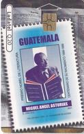 TARJETA DE GUATEMALA DE HOMBRES CELEBRES - MIGUEL ANGEL ASTURIAS (SELLO-STAMP) (LADATEL-TELGUA) - Guatemala