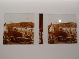 Photo Plaque De Verre Stéréoscopique Avion Aviation Nieuport Sous-lieutenant Boillot Au Départ 1916 - Diapositiva Su Vetro