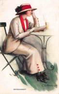 CPA ILLUSTRATEUR ART NOUVEAU FEMME GLAMOUR CARD LADY ARTIST SIGNED C W BARBER - Barber, Court