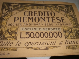 CARTONCINO CREDITO PIEMONTESE - Banca & Assicurazione