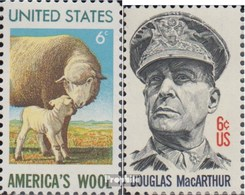 USA Mi.-Nr.: 1025,1026 (kompl.Ausg.) Postfrisch 1971 Wollindustrie, MacArthur - Stati Uniti