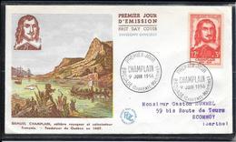 FDC 1956 - 1068  Célébrités DuXVème Au XXème S.: Samuel De Champlain, Explorateur - 1950-1959