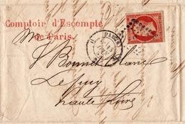 Lettre 1857 Paris Comptoir De L'Escompte Le Puy En Velay Timbre Napoléon III 40 Centimes - 1853-1860 Napoléon III