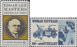 USA 1007,1008 (kompl.Ausg.) Postfrisch 1970 Edrar Lee Masters, Frauenstimmrecht - United States