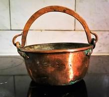 Chaudron Cache-pot Cuivre Ancien Martelé Et Forgé - Rame