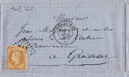 Lettre 1869 Bédarieux Hérault Graissessac Timbre Napoléon III Lauré 10 Centimes - 1863-1870 Napoleon III Gelauwerd