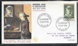 FDC 1956 - 1069  Célébrités DuXVème Au XXème S.: Jean-Baptiste Siméon Chardin - Peintre Du 18ème S - 1950-1959