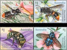 Australia 2019 Set 4 V MNH Fauna Insects  Honeybee  Native Bees Bee Abeilles - Honeybees