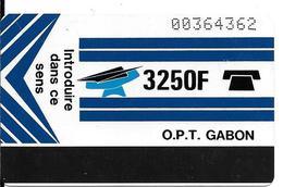 CARTE-GABON-MAGNETIQUE AUTELCA-3250F-BLEU-R°Ecriture +Epaisse V° BLANC-TBE - Gabon