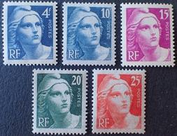 R1615/63 - 1945 - TYPE MARIANNE DE GANDON - N°725 à 729 NEUFS** - 1945-54 Marianne De Gandon
