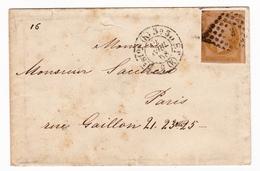 Enveloppe 1858 Paris Timbre Napoléon III 10 Centimes + Correspondance Gagliani - 1853-1860 Napoleon III
