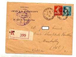 Lettre Recommandee Paris 38 Sur Semeuse Pasteur - Marcophilie (Lettres)