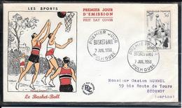 FDC 1956 - 1072  Série Sportive: Le Basket - Ball - 1950-1959