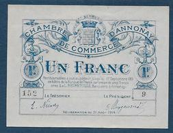 Chambre De Commerce D' Annonay - 1 Fr - 1914  ( Pirot N° 8 ) - Chambre De Commerce