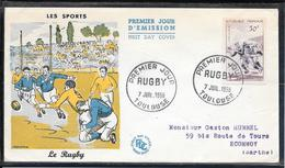 FDC 1956 - 1074  Série Sportive: Le Rugby - 1950-1959