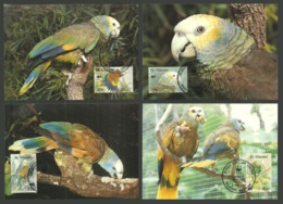 ST VINCENT 1989 BIRDS WWF AMAZON PARROT MAXICARDS SET OF 4 FDC - St.Vincent (1979-...)