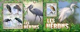 Togo 2019, Animals, Herons, 4val In BF +BF - Grues Et Gruiformes