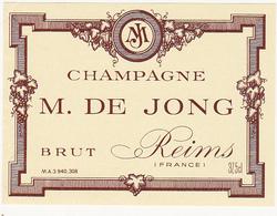 Etiquette Champagne BRUT M. DE JONG à Reims - 37.5 Cl - Champagne