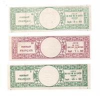 Fiscaux- Sur Jeux De Cartes (portrait Français)- Impot - 3.60 -15.00 - 7.50 - 3 Exemplaires -12 X 4 Cms- Papier Pelure - Revenue Stamps