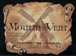 Etiquette De Vin // Le Moulin à Vent, Cave Du Château De Chénas France - Rouges