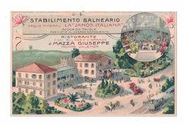 CARTOLINA POSTALE CARTE POSTALE  STABILIMENTO BALNEARIO LA JANOS ITALIANA ACQUE MINERALI - Pubblicitari