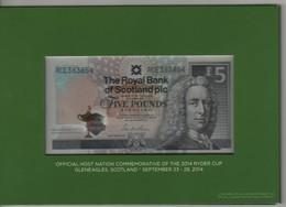 "SCOTLAND   £5  ""The Royal Bank Of Scotland""   P369 Commemorative  (GOLF  Ryder Cup Jubilee) 22.9.2014   UNC - Schotland"