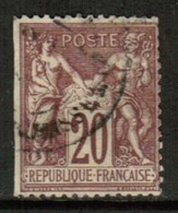 FRANCE  Scott # 70 USED STRAIGHT EDGE  (Stamp Scan # 520) - 1876-1878 Sage (Type I)