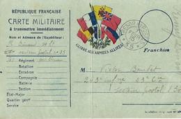 Carte Postale Franchise Militaire Gloire Aux Armées Alliées  SP 35 - Poststempel (Briefe)