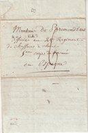 """FRANCE : MP . """" SAINTES """" . POUR 1 OFFICIER DU 5 ème CORPS DE LA GRANDE ARMEE EN ESPAGNE . MARQUE LETTRE B AU VERSO . - Marcophilie (Lettres)"""