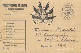 Carte Postale Franchise Militaire Imprimeur Courcier Paris SP 7 - Postmark Collection (Covers)
