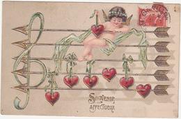 Jolie Carte Gauffrée / Souvenir Affectueux / Ange, Angelot, Notes De Musique, Coeurs, Flèches - 1908 - Anges