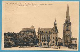 REDON - Place Saint-Sauveur - L'Eglise Saint-Sauveur - L'Hôtel De Ville Et La Tour Isolée- Carte Circulé 1932 - Redon