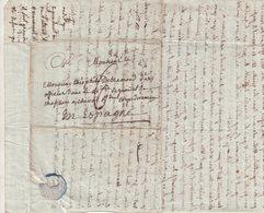 """FRANCE : MP . """" 16 SAINTES """" . POUR 1 OFFICIER DU 5 ème CORPS DE LA GRANDE ARMEE EN ESPAGNE . TAXEE . 1809 . - Marcophilie (Lettres)"""