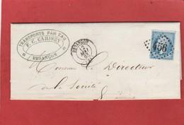 Doubs - Besançon - GC 456 Sur N°22 - LAC De F.C. Carisey Vers Epinac Mai 1865 - Postmark Collection (Covers)