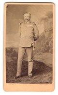 Fotografie J. Samhaber, Aschaffenburg, Portrait Offizier In Uniform Mit Orden, Gründerzeit - War, Military