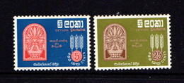 CEYLON      1963    Freedom  From  Hunger    Set  Of  2        MNH - Sri Lanka (Ceylon) (1948-...)