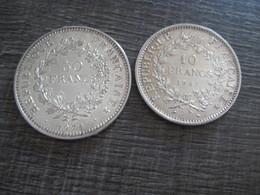 Lot France 50 Francs &10 Francs Argent Semeuse 2 Pièces Port Offert - France
