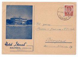 1939 YUGOSLAVIA, CROATIA, ISLAND KRK, MALINSKA TO BELGRADE, SERBIA,HOTEL STENAD, ILLUSTRATED POSTCARD, USED - Yugoslavia