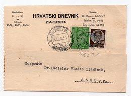1936 YUGOSLAVIA, CROATIA, ZAGREB TO SOMBOR, SERBIA, CORRESPONDENCE CARD, HRVATSKI DNEVNIK - 1931-1941 Kingdom Of Yugoslavia