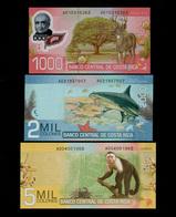 COSTA RICA SET 1000 2000 5000 COLONES BANKNOTES 2009 UNC - Costa Rica