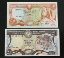 CYPRUS SET 50 CENTS, 1 POUND BANKNOTES 1989-1995 UNC - Cyprus