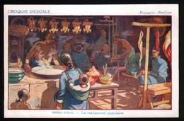 Croquis D'escale, Illustrateur H. Gervese, Hong-Kong, Le Restaurant Populaire - Gervese, H.
