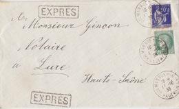 Lettre EXPRES Obl. Colmar (Rue Du Nord) Le 17/10/39 Sur 90c Paix Bleu Et 2F50 Ceres Vert Pour Lure - Marcophilie (Lettres)