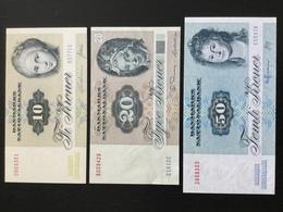 DENMARK SET 10 20 50 KRONER BANKNOTES 1977-1989 AU-UNC - Denemarken