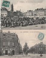 2 CPA:CAMBRAI (59) CAFÉ LEGRET CRUCHET BERNIER RUE DE FLANDRE,MARCHÉ GRAND'PLACE..ÉCRITES - Cambrai