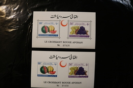 Afghanistan 528-529 Fruit Melons Grapes Red Crescent Perf & Imperforate  Souvenir Sheet Block MNH 1961 A04s - Afghanistan