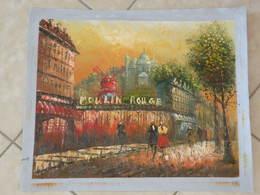 Le Moulin Rouge à Paris - Peinture à L'Huile Sur Toile 59cm X 49cm - Huiles