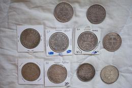 Lot De 9 Pièces 5 Francs Du XIX Ième France Et Une Pièce De 5 Lires Du XIX Ième  - Argent - France
